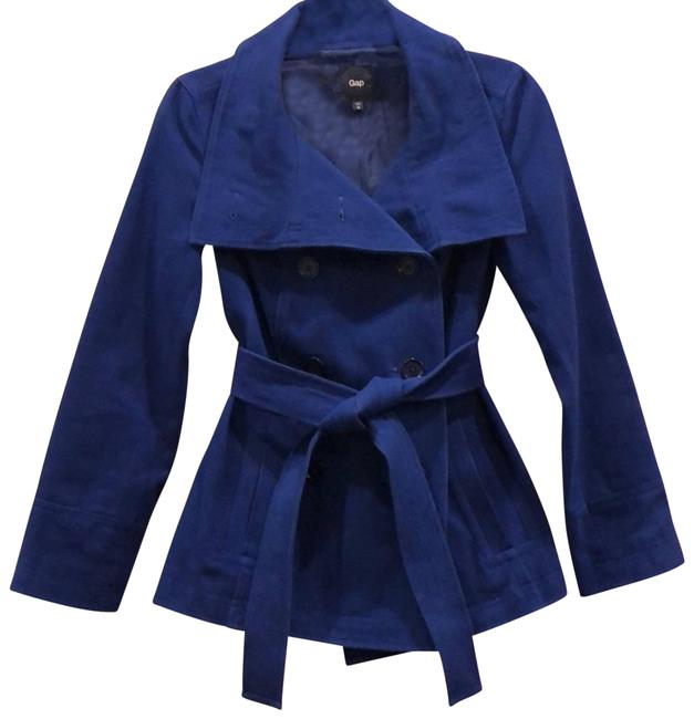 Item - Blue Royal Double Breasted with Belt Coat Size 2 (XS)