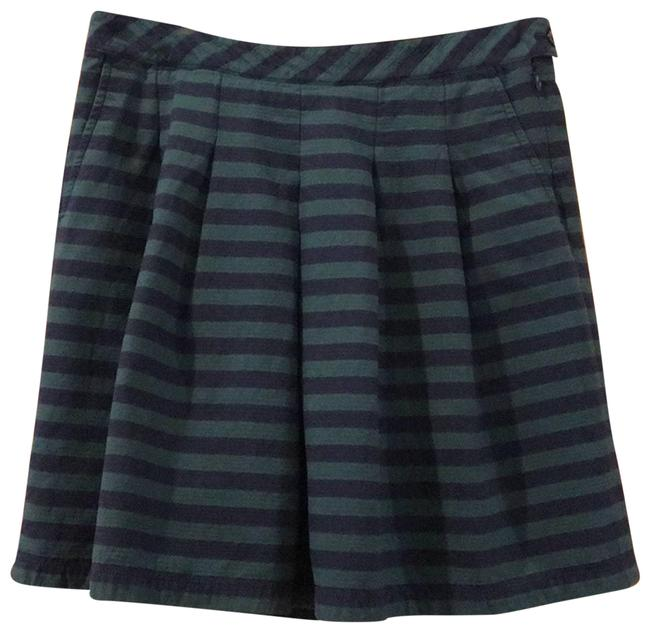 Item - Green and Navy Blue Striped Skater Skirt Size 2 (XS, 26)