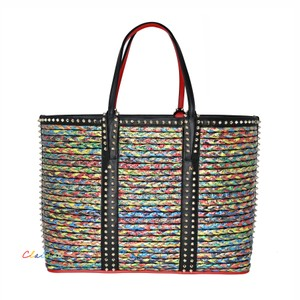 Christian Louboutin Leather Studded Tote in Black Multi
