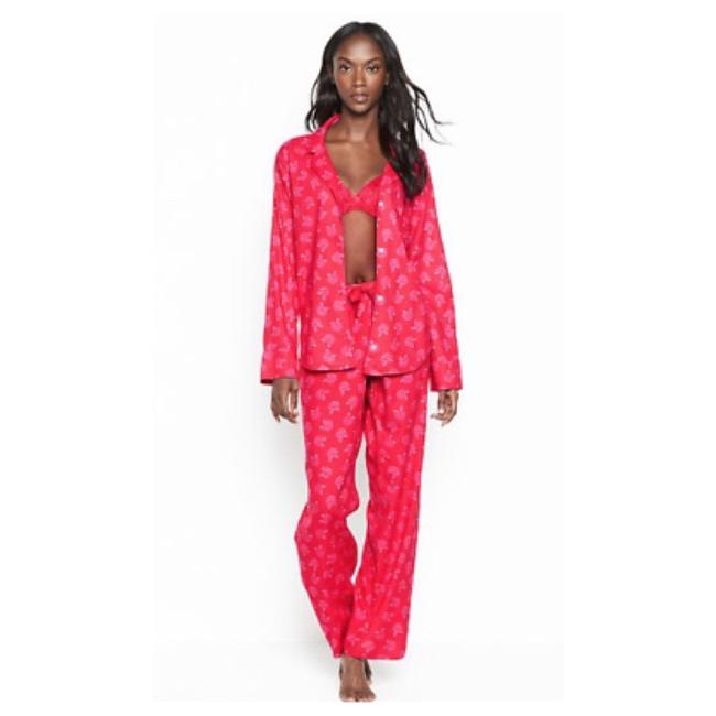 Item - Red Rose Flannel Pajama Button-down Top Size 8 (M)