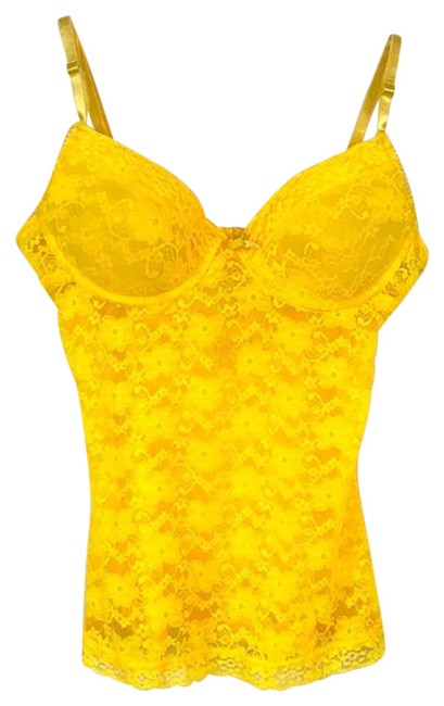 Item - Yellow Floral Lace Top 34b Short Night Out Dress Size 6 (S)
