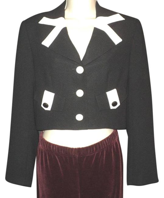 Item - Black & Cream Cropped Buttoned Lined Accents Hand Washable Blazer Size 6 (S)