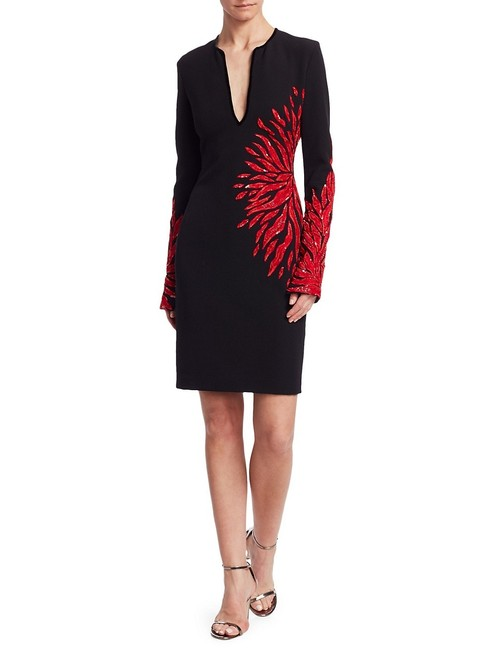 Item - Black Red Hand Embroidered Mid-length Night Out Dress Size 2 (XS)