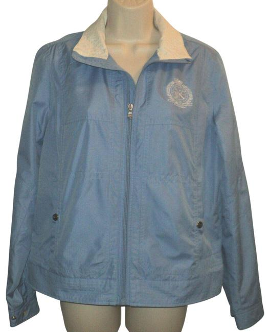 Item - Blue & Cream Full Zippered Crest Logo On Left Chest Lined Lightweight Jacket Size 10 (M)