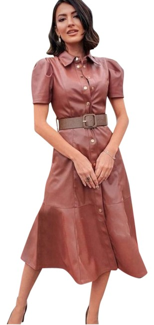 Item - Camel Faux Leather Belted Midi Shirt Mid-length Casual Maxi Dress Size 8 (M)