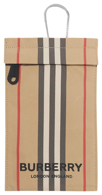 Item - Checked Pouch Beige Canvas Wristlet