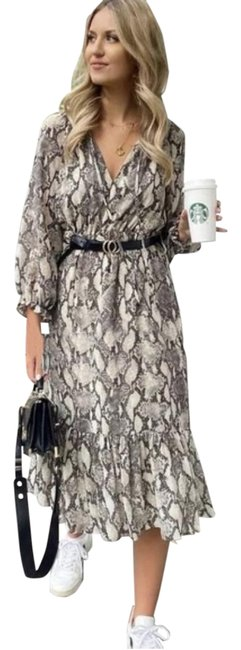 Item - Taupe Belted Animal Print Flowy Midi Long Casual Maxi Dress Size 8 (M)