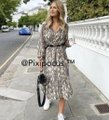 Zara Taupe Belted Animal Print Flowy Midi Long Casual Maxi Dress Size 8 (M) Zara Taupe Belted Animal Print Flowy Midi Long Casual Maxi Dress Size 8 (M) Image 8