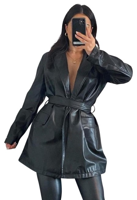 Item - Black Faux Belted Trench Jacket Size 4 (S)