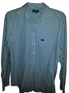 Faconnable Button Down Shirt white with navy (denim) pinstripe. cotton.