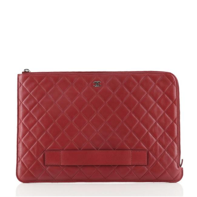 Chanel Ipad Pouch Quilted Lambskin Large Red Leather Clutch Chanel Ipad Pouch Quilted Lambskin Large Red Leather Clutch Image 1
