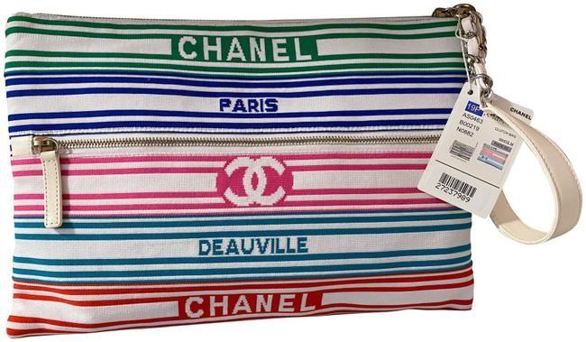 Item - Deauville Clutch Rare Multicolor Cc / White Multi Canvas Wristlet