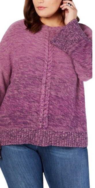 Item - Ombre Marled Crew Neck Long Sleeve Purple Sweater