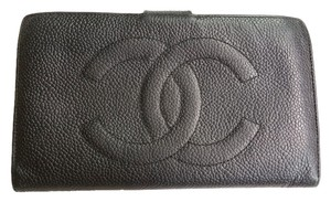 Chanel Authentic Vintage Chanel Jumbo CC Stitching Caviar Long Wallet