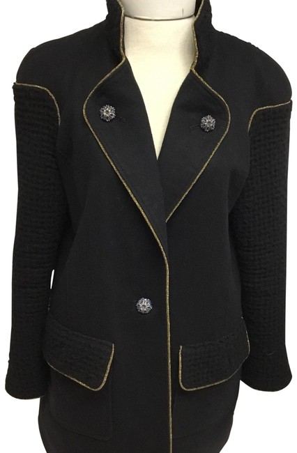 Item - Black Waffle Sleeve with Jewel Buttons Jacket Size 8 (M)