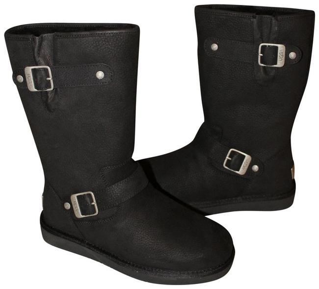 Item - Black Sutter Buckle Moto Shearling Lined Boots/Booties Size US 9 Regular (M, B)