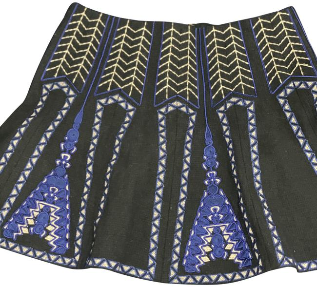 Item - Blue Geo Wool Skirt Size 6 (S, 28)