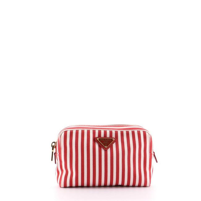 Item - Cosmetic Pouch Striped Small Red Canvas Clutch