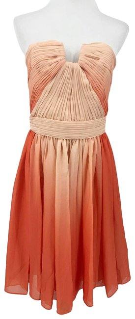 Item - Orange Ombre Heritage Medium Strapless Chiffon Peach Short Cocktail Dress Size 8 (M)