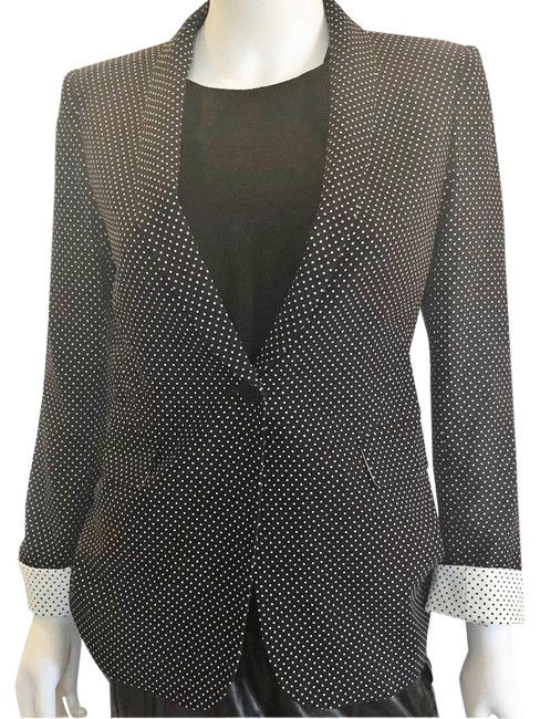 Item - Black And White Dot Fitted Career Blazer Size 4 (S)