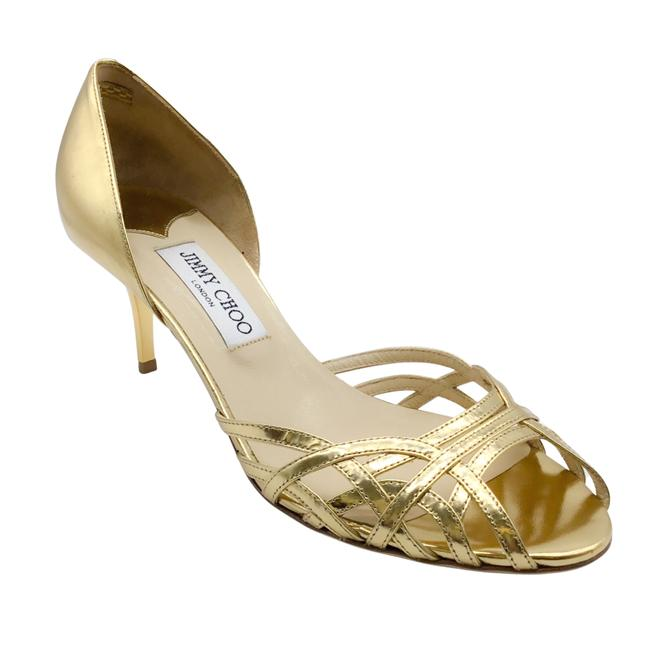 Item - Gold Woven Open Toe Pumps Size EU 38 (Approx. US 8) Regular (M, B)