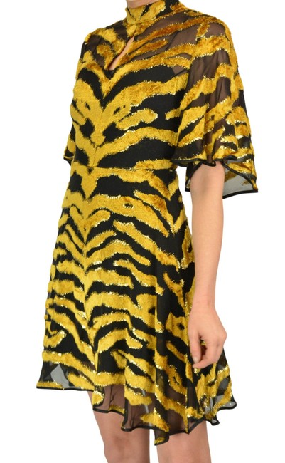 Adam Lippes Brown Yellow Tiger Stripe Mid-length Night Out Dress Size 2 (XS) Adam Lippes Brown Yellow Tiger Stripe Mid-length Night Out Dress Size 2 (XS) Image 1