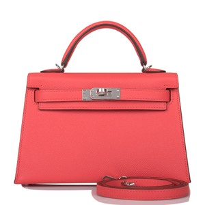 Item - Kelly Rose Jaipur Verso Epsom Sellier 20cm Palladium Hardware Pink Leather Cross Body Bag