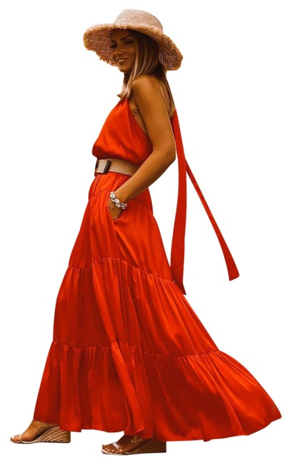 Item - Red Blogger Fave Halter Maxi Long Night Out Dress Size 8 (M)