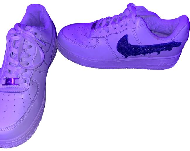 Item - White and Dark Blue Air Force 1s Custom Sneakers Size US 8 Regular (M, B)