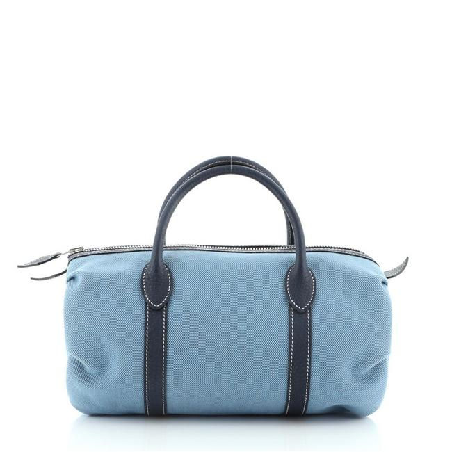 Item - Sac polochon Mademoiselle Toile with Leather Blue Canvas Satchel