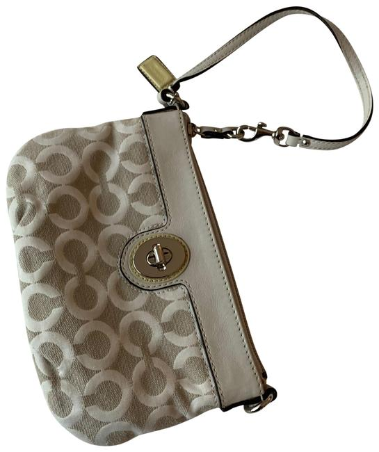 Coach Logo Wristlet White and Cream and Silver Hardware Fabric with Leather Accents Clutch Coach Logo Wristlet White and Cream and Silver Hardware Fabric with Leather Accents Clutch Image 1
