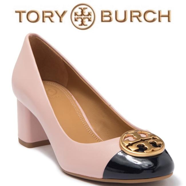 Item - Pale Pink & Darkest Navy with Gold Chelsea Cap Toe Pumps Size US 7.5 Regular (M, B)