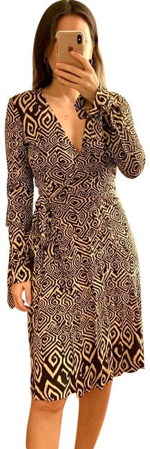 Item - Brown Vintage New Julian Wrap Printed Mid-length Work/Office Dress Size 4 (S)