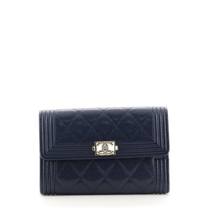 Item - Blue Boy Flap Quilted Caviar Small Wallet