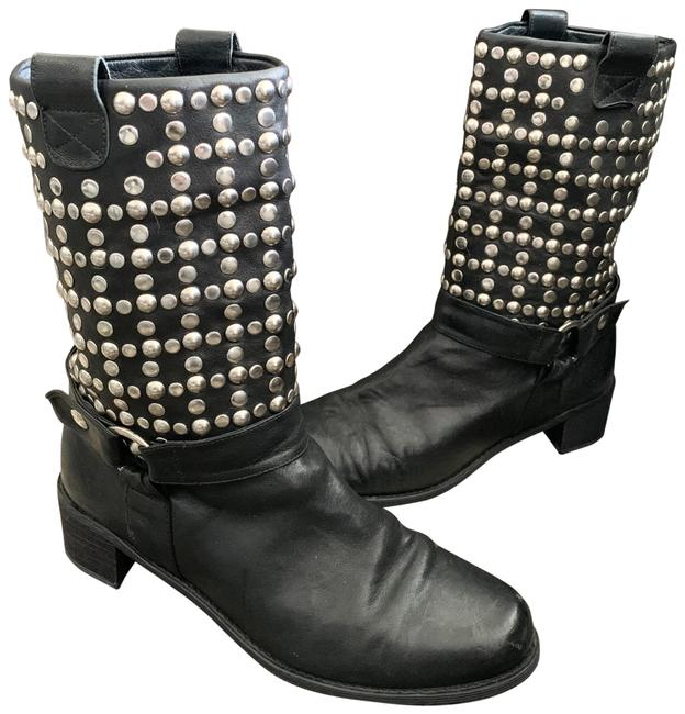 Item - Black Leather Studs Studded Boots/Booties Size US 9 Regular (M, B)