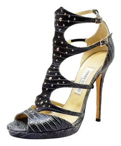 Jimmy Choo Black Reptile Strappy Platform Black, Gray Sandals