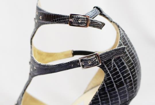 Jimmy Choo Reptile Strappy Platform Black, Gray Sandals