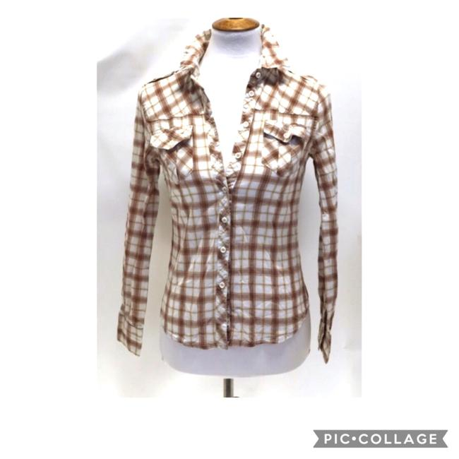 Item - White and Orange and Brown Plaid Long Sleeve Shirt Button-down Top Size 6 (S)