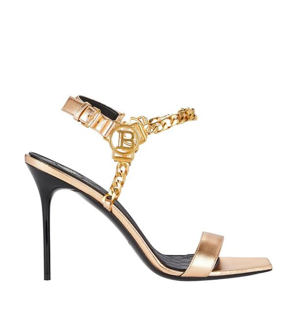 Item - Gold with Gold Chain Roxana Link Sandals Formal Shoes Size US 8.5 Regular (M, B)