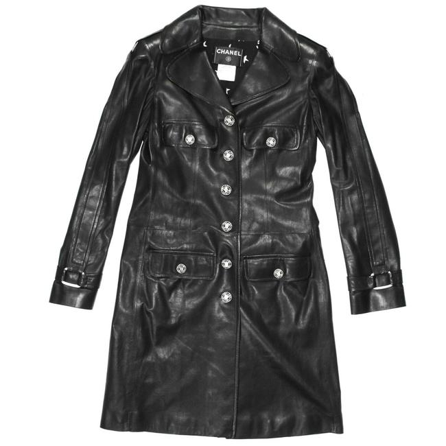 Item - Black - Silver 2008 Coat Long Button Buckle 08a Us 4 36 Jacket Size 2 (XS)