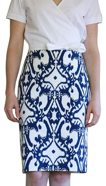 Item - Blue and White Geometric Pencil Skirt Size 2 (XS, 26)