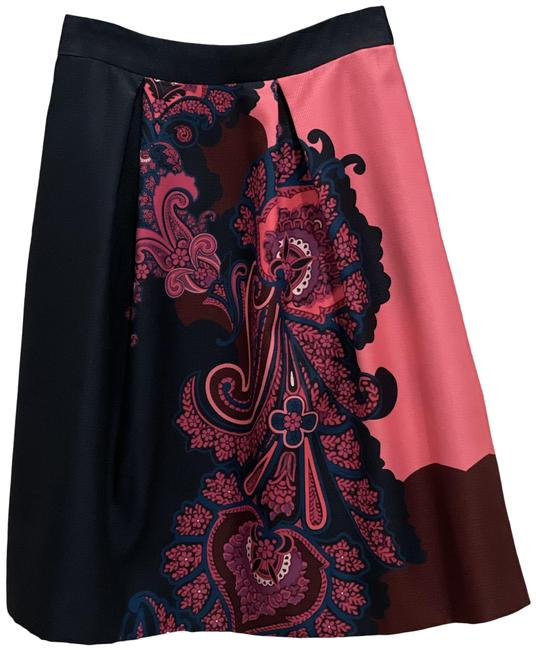 Item - Navy Blue and Pink Oriental Paisley Skirt Size 2 (XS, 26)