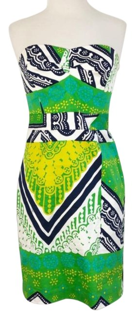 Item - Green Multi Strapless Summer Printed Short Cocktail Dress Size 2 (XS)
