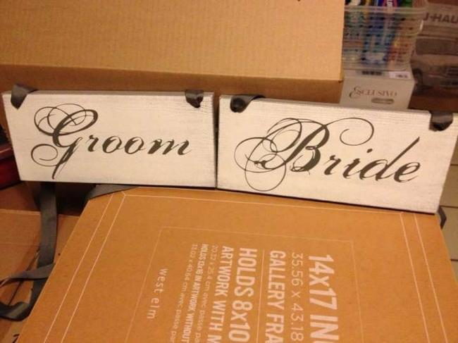 Item - Gray & White Mr. Mrs. Chair Signs Reception Decoration