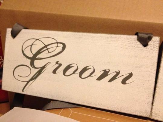 Gray & White Mr. Mrs. Chair Signs Reception Decoration
