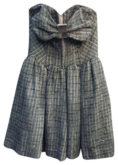 Item - Black Pip Pop Boucle with Bow Detail Cocktail Dress Size 4 (S)