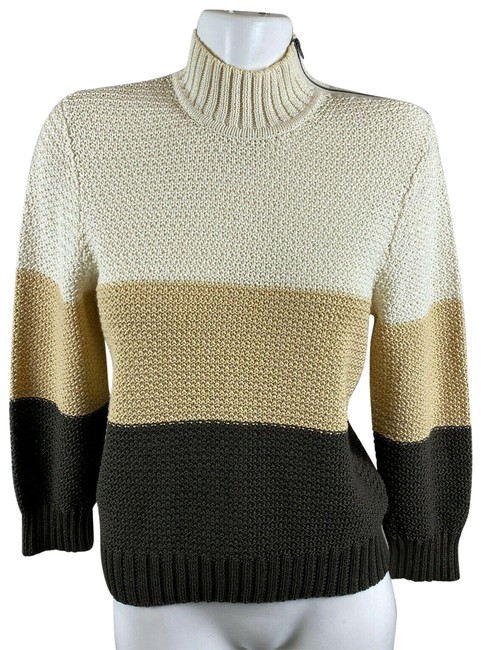 Item - Cotton Colorblock Neutral Womens Size Small Brown Sweater
