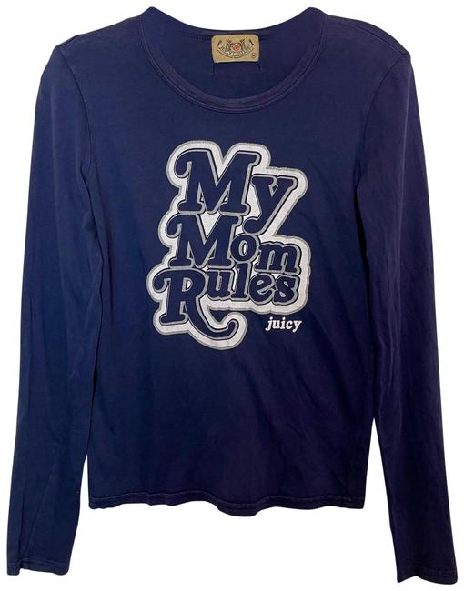 Item - Navy Blue Silver White My Mom Rules Long Sleeve Tee Shirt Size 8 (M)
