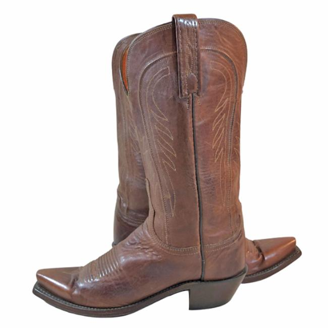 Item - Brown Leather Western Cowboy Cowgirl Women's C ( Boots/Booties Size US 7 Wide (C, D)