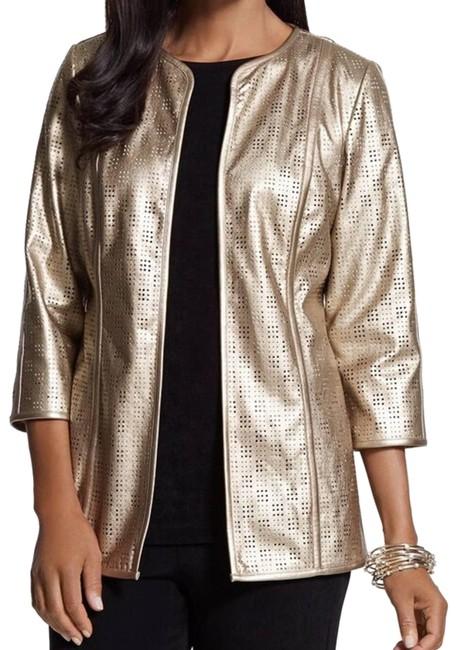 Item - Gold Perforated Jacket - S Blazer Size 6 (S)